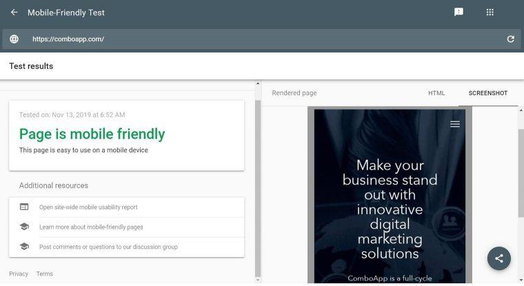 Google mobile-friendly test for SEO audit