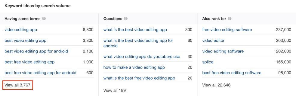 Keyword ideas by search volume in Ahrefs