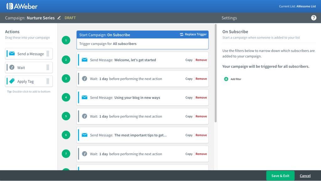 AWeber B2B email marketing software