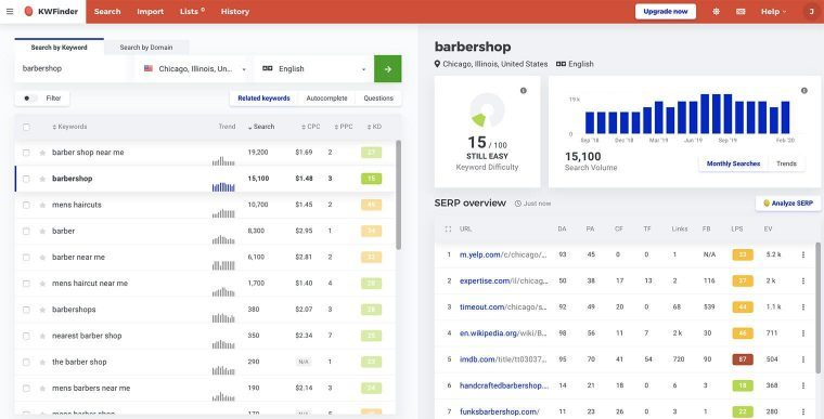 KWFinder local SEO keyword research tool