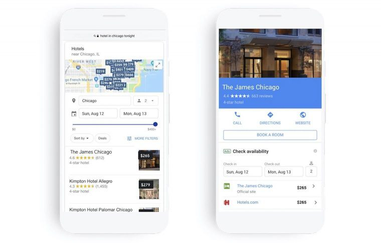 Hotel advertising from Google search results